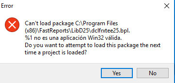 Error iniciando Delphi después de Instalar Fast Report